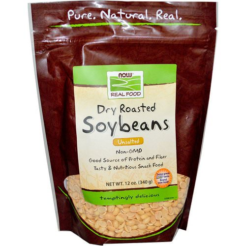 Now Foods, Real Food, Dry Roasted Soybeans, Unsalted, 12 oz (340 g) فوائد