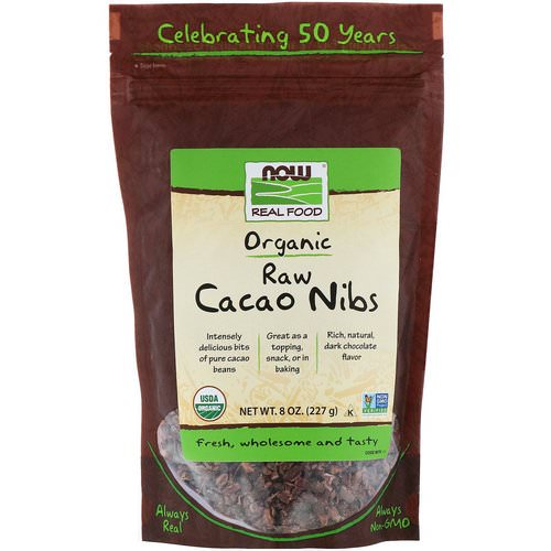 Now Foods, Organic, Raw Cacao Nibs, 8 oz (227 g) فوائد