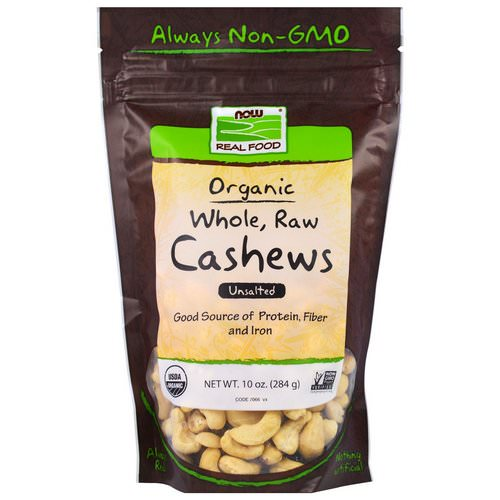 Now Foods, Real Food, Organic, Whole, Raw Cashews, Unsalted, 10 oz (284 g) فوائد