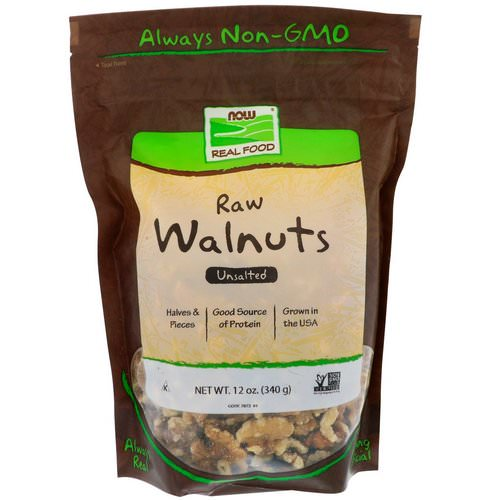 Now Foods, Real Food, Raw Walnuts, Unsalted, 12 oz (340 g) فوائد