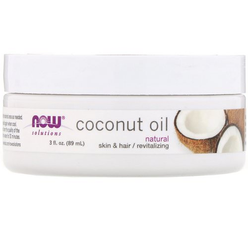Now Foods, Solutions, Coconut Oil, Natural, 3 fl oz (89 ml) فوائد