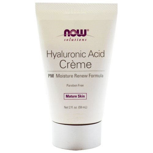 Now Foods, Solutions, Hyaluronic Acid Creme, PM Moisture Renew Formula, 2 fl oz (59 ml) فوائد