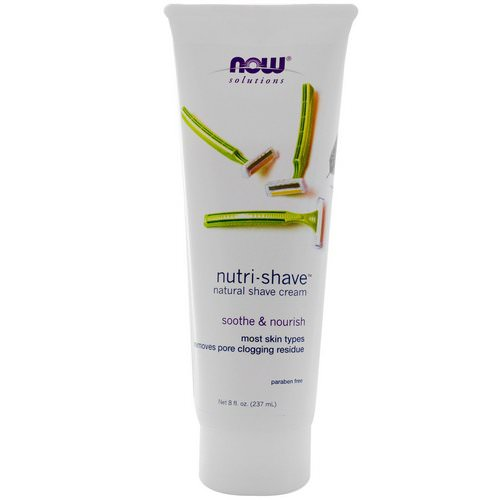 Now Foods, Solutions, Nutri-Shave, Natural Shave Cream, 8 fl oz (237 ml) فوائد