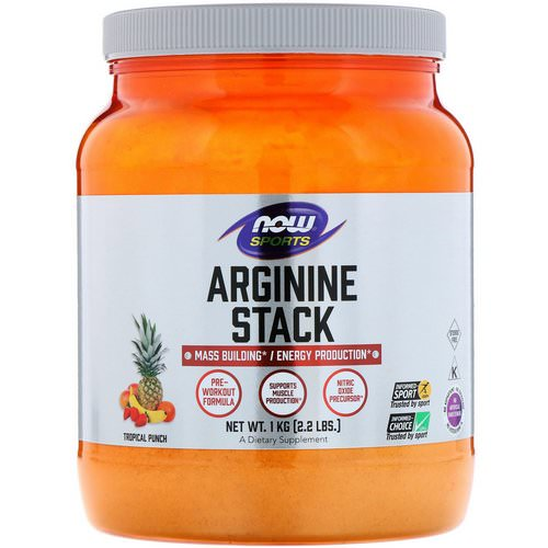 Now Foods, Sports, Arginine Stack, Tropical Punch, 2.2 lbs. (1 kg) فوائد
