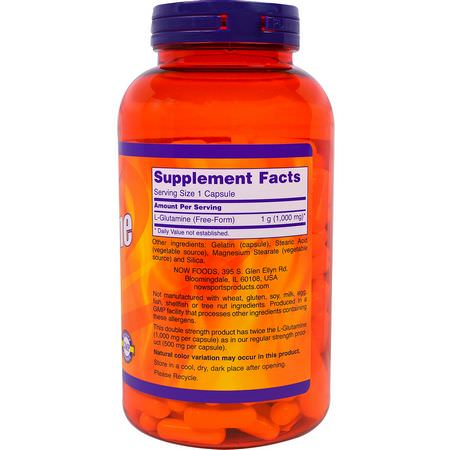 Now Foods, Sports, L-Glutamine, Double Strength, 1000 mg, 240 Capsules:L-Glutamine, أحماض أمينية