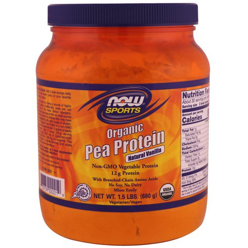 Now Foods, Sports, Organic Pea Protein, Natural Vanilla, 1.5 lbs (680 g) فوائد