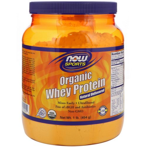 Now Foods, Sports, Organic Whey Protein, Natural Unflavored, 1 lb (454 g) فوائد