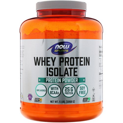 Now Foods, Sports, Whey Protein Isolate, Unflavored, 5 lbs (2268 g) فوائد