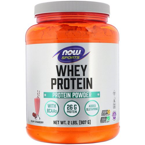 Now Foods, Sports, Whey Protein, Creamy Strawberry, 2 lbs (907 g) فوائد