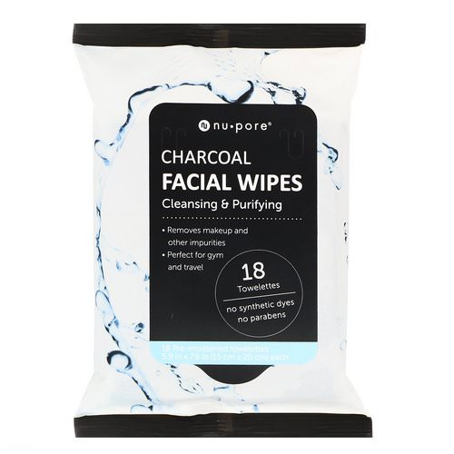 Nu-Pore, Charcoal Facial Wipes, 18 Pre-Moistened Towelettes فوائد
