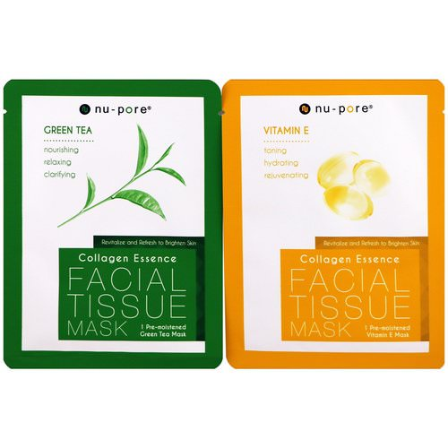 Nu-Pore, Collagen Essence Face Mask Set, Vitamin E & Green Tea, 2 Single-Use Masks, 0.85 fl oz (25 g) Each فوائد
