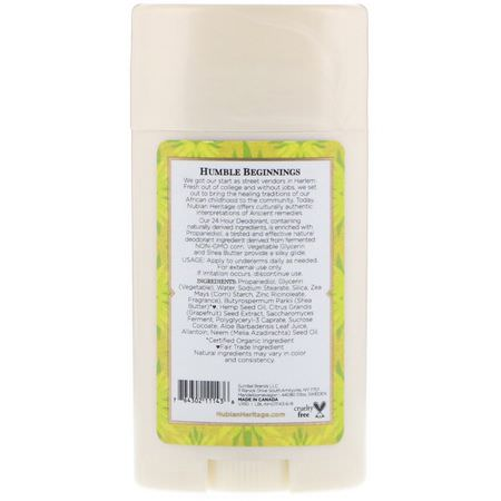 Nubian Heritage, 24 Hour Deodorant, Indian Hemp & Haitian Vetiver, 2.25 oz (64 g):مزيل عرق, حمام