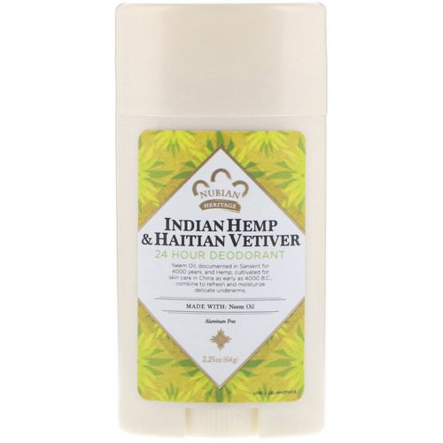 Nubian Heritage, 24 Hour Deodorant, Indian Hemp & Haitian Vetiver, 2.25 oz (64 g) فوائد