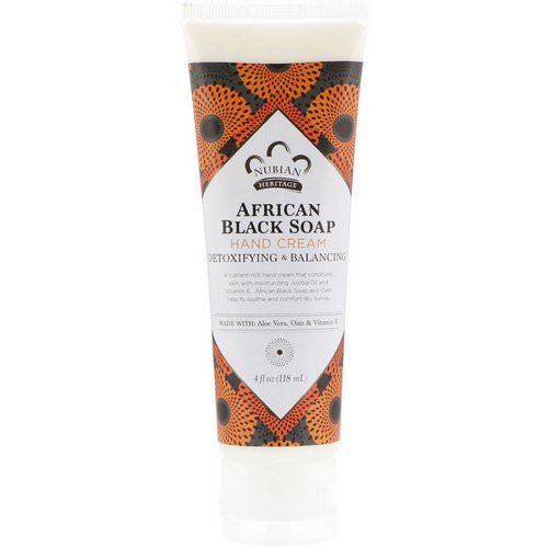Nubian Heritage, Hand Cream, African Black Soap, 4 fl oz (118 ml) فوائد