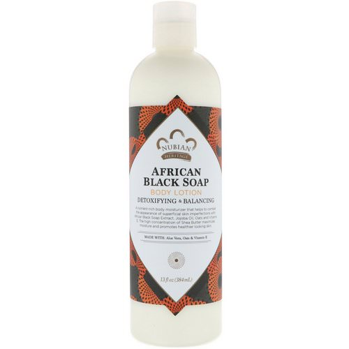Nubian Heritage, Body Lotion, African Black Soap, 13 fl oz (384 ml) فوائد