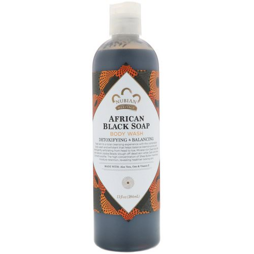 Nubian Heritage, Body Wash, African Black Soap, 13 fl oz (384 ml) فوائد