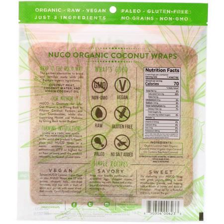NUCO, Organic Coconut Wraps, Original, 5 Wraps (14 g) Each:يلف, خبز