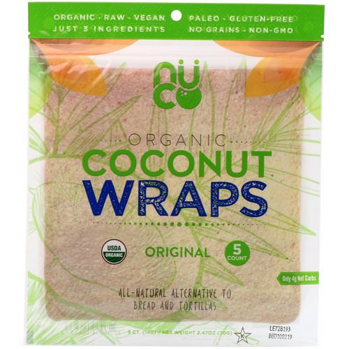 NUCO, Organic Coconut Wraps, Original, 5 Wraps (14 g) Each فوائد