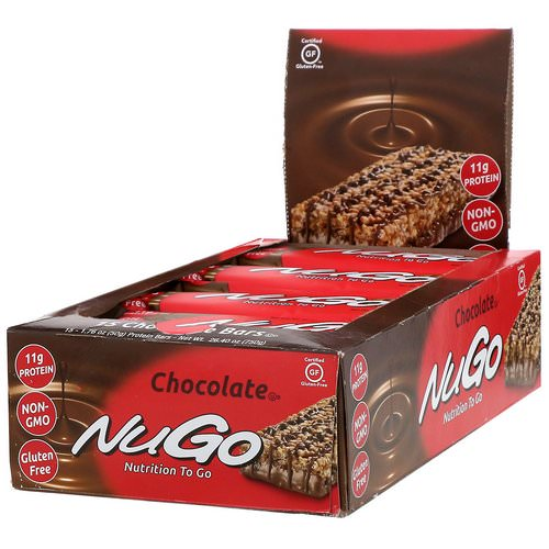 NuGo Nutrition, Nutrition To Go, Chocolate, 15 Bars, 1.76 oz (50 g) Each فوائد