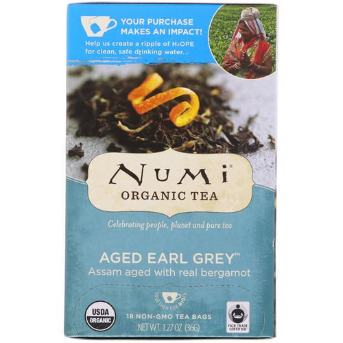Numi Tea, Organic Tea, Black Tea, Aged Earl Grey, 18 Tea Bags (1.27 oz (36 g) فوائد