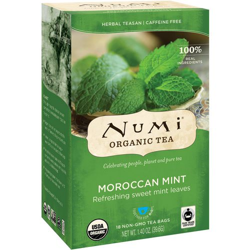 Numi Tea, Organic Tea, Herbal Teasan, Moroccan Mint, Caffeine Free, 18 Tea Bags, 1.40 oz (39.6 g) فوائد