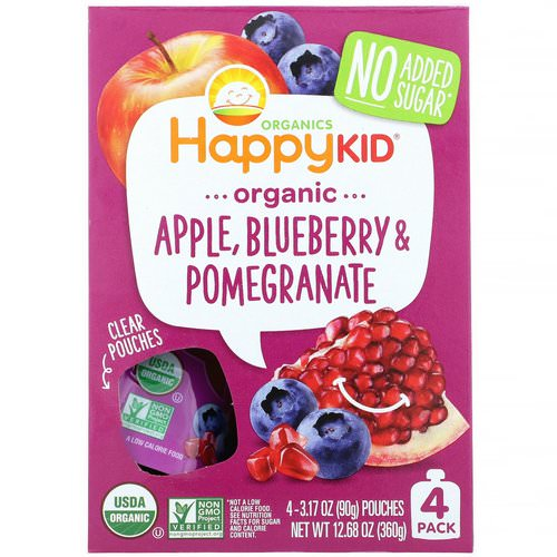 Happy Family Organics, Happy Kid, Organic Apple, Blueberry & Pomegranate, 4 Pouches, 3.17 oz (90 g) Each فوائد