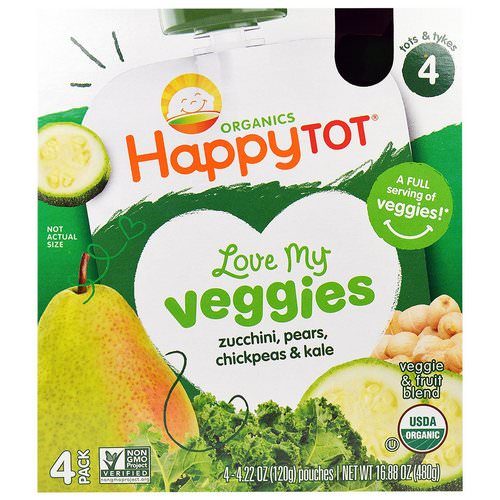 Happy Family Organics, Happy Tot, Love My Veggies, Zucchini, Pears, Chickpeas & Kale, 4 Pouch, 4.22 oz (120 g) Each فوائد