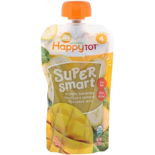 Happy Family Organics, Happy Tot, Super Smart, Fruit & Veggie Blend, Stage 4, Organic Bananas, Mangos & Spinach + Coconut Milk, 4 oz (113 g) فوائد