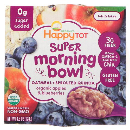 Happy Family Organics, Happy Tot, Super Morning Bowl, Oatmeal + Sprouted Quinoa, Organic Apples & Blueberries, 4.5 oz (128 g) فوائد