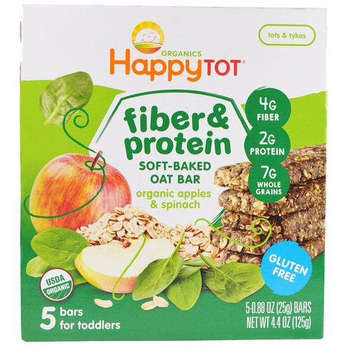 Happy Family Organics, Happytot, Fiber & Protein Soft-Baked Oat Bar, Organic Apples & Spinach, 5 Bars, 0.88 oz (25 g) Each فوائد