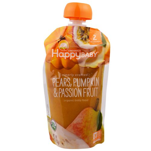 Happy Family Organics, Organic Baby Food, Stage 2, Clearly Crafted, 6+ Months, Pears, Pumpkin, & Passion Fruit, 4.0 oz (113 g) فوائد