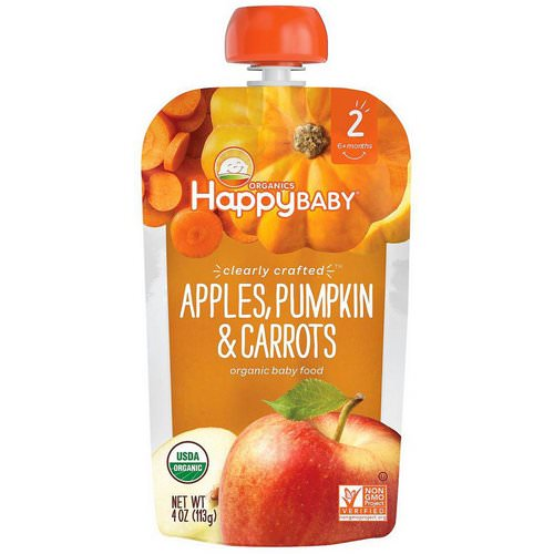 Happy Family Organics, Organic Baby Food, Stage 2, Clearly Crafted, 6+ Months Apples, Pumpkin & Carrots, 4 oz (113 g) فوائد