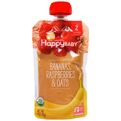 Happy Family Organics, Organic Baby Food, Stage 2, Clearly Crafted, 6+ Months, Bananas, Raspberries & Oats, 4 oz (113 g) فوائد
