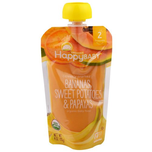Happy Family Organics, Organic Baby Food, Stage 2, Clearly Crafted, 6+ Months, Bananas, Sweet Potatoes, & Papayas, 4.0 oz (113 g) فوائد