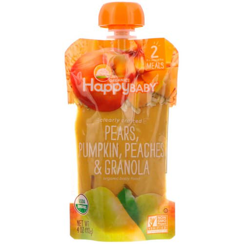 Happy Family Organics, Organic Baby Food, Stage 2, Clearly Crafted 6+ Months, Pears, Pumpkin, Peaches & Granola, 4 oz (113 g) فوائد