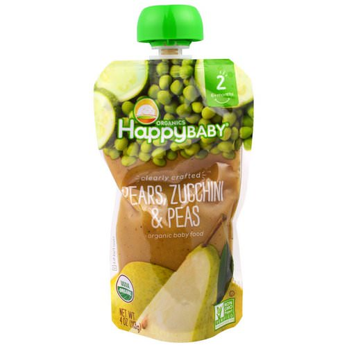 Happy Family Organics, Organic Baby Food, Stage 2, Clearly Crafted 6+ Months, Pears, Zucchini & Peas, 4.0 oz (113 g) فوائد