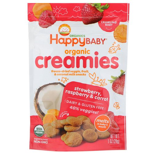 Happy Family Organics, Organic Creamies, Freeze-Dried Veggie, Fruit & Coconut Milk Snacks, Strawberry, Raspberry & Carrot, 1 oz (28 g) فوائد