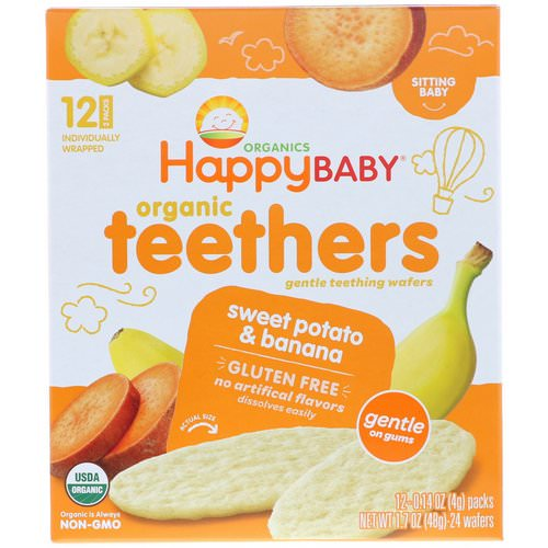 Happy Family Organics, Organic Teethers, Gentle Teething Wafers, Sitting Baby, Sweet Potato & Banana, 12 Packs, 0.14 oz (4 g) Each فوائد