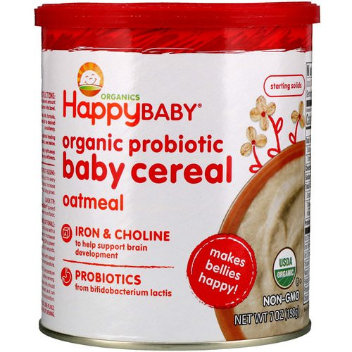 Happy Family Organics, Organic Probiotic Baby Cereal, Oatmeal, 7 oz (198 g) فوائد