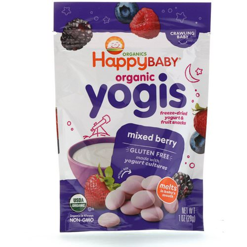 Happy Family Organics, Organic Yogis, Freeze Dried Yogurt & Fruit Snacks, Mixed Berry, 1 oz (28 g) فوائد