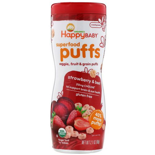 Happy Family Organics, Superfood Puffs Veggie, Fruit & Grain, Strawberry & Beet, 2.1 oz (60 g) فوائد
