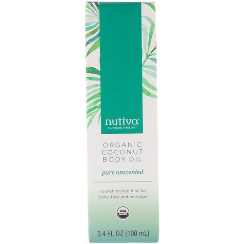 Nutiva, Organic Coconut Body Oil, Pure Unscented, 3.4 fl oz (100 ml) فوائد