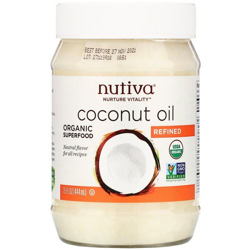 Nutiva, Organic Coconut Oil, Refined, 15 fl oz (444 ml) فوائد