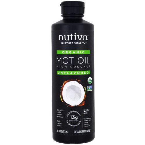 Nutiva, Organic MCT Oil From Coconut, Unflavored, 16 fl oz (473 ml) فوائد