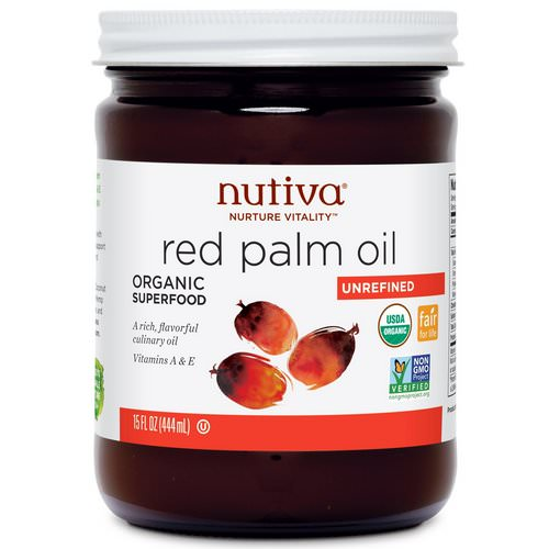 Nutiva, Organic Red Palm Oil, Unrefined, 15 fl oz (444 ml) فوائد