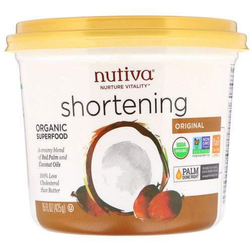 Nutiva, Organic Shortening, Original, Red Palm and Coconut Oils, 15 oz (425 g) فوائد