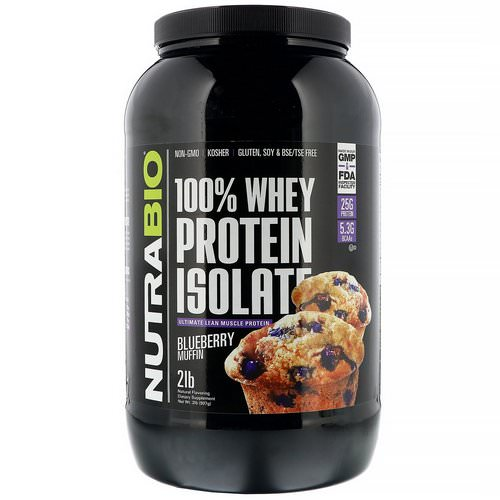 NutraBio Labs, 100% Whey Protein Isolate, Blueberry Muffin, 2 lb (907 g) فوائد