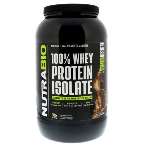 NutraBio Labs, 100 % Whey Protein Isolate, Dutch Chocolate, 2 lbs (907 g) فوائد