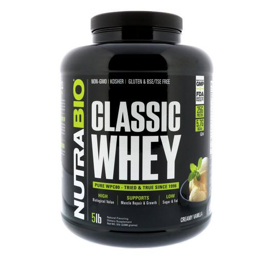 NutraBio Labs, Classic Whey Protein, Creamy Vanilla, 5 lbs (2268 g) فوائد