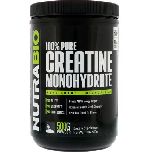 NutraBio Labs, Creatine Monohydrate, 1.1 lb (500 g) فوائد